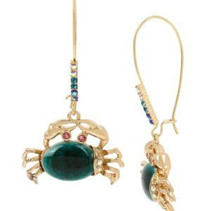 Betsey Johnson Stone Crab Long Drop Earrings